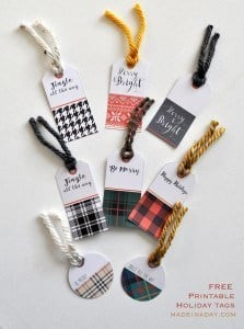Plaid FREE Pritnable holiday Gift Tags madeinaday.com