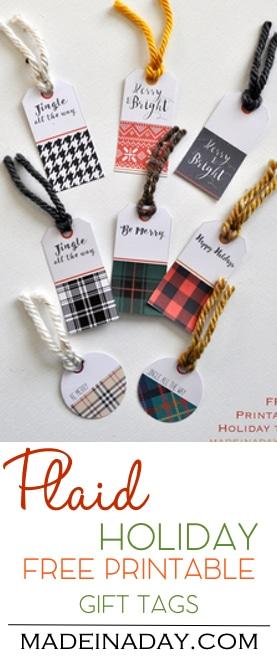 Plaid Holiday FREE Printable Gift Tags, plaid, sweater print, hounds tooth, Burberry plaid, black and white plaid, red and black plaid, printable tags