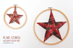 Plaid Holiday Star Hoop Art madeinday.com