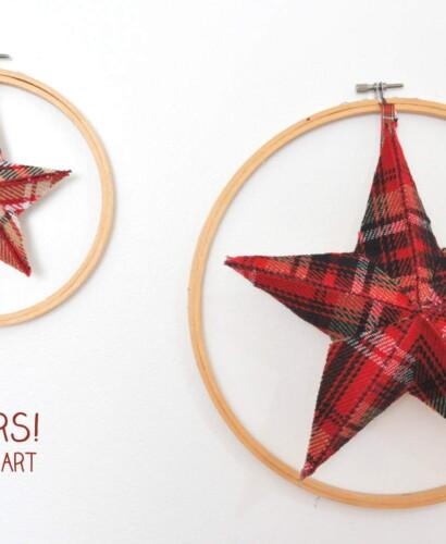 Plaid Fabric Stars Holiday Hoop Art 37