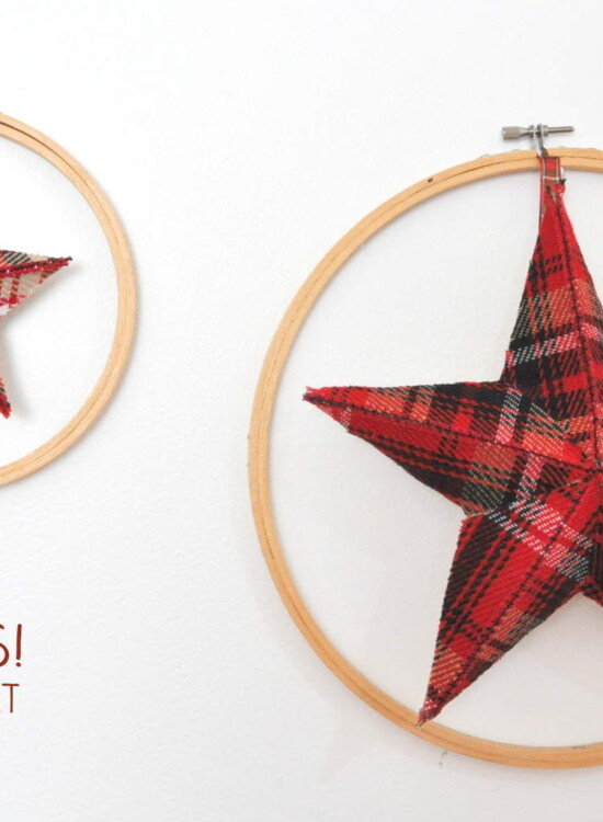 Plaid Fabric Stars Holiday Hoop Art 38