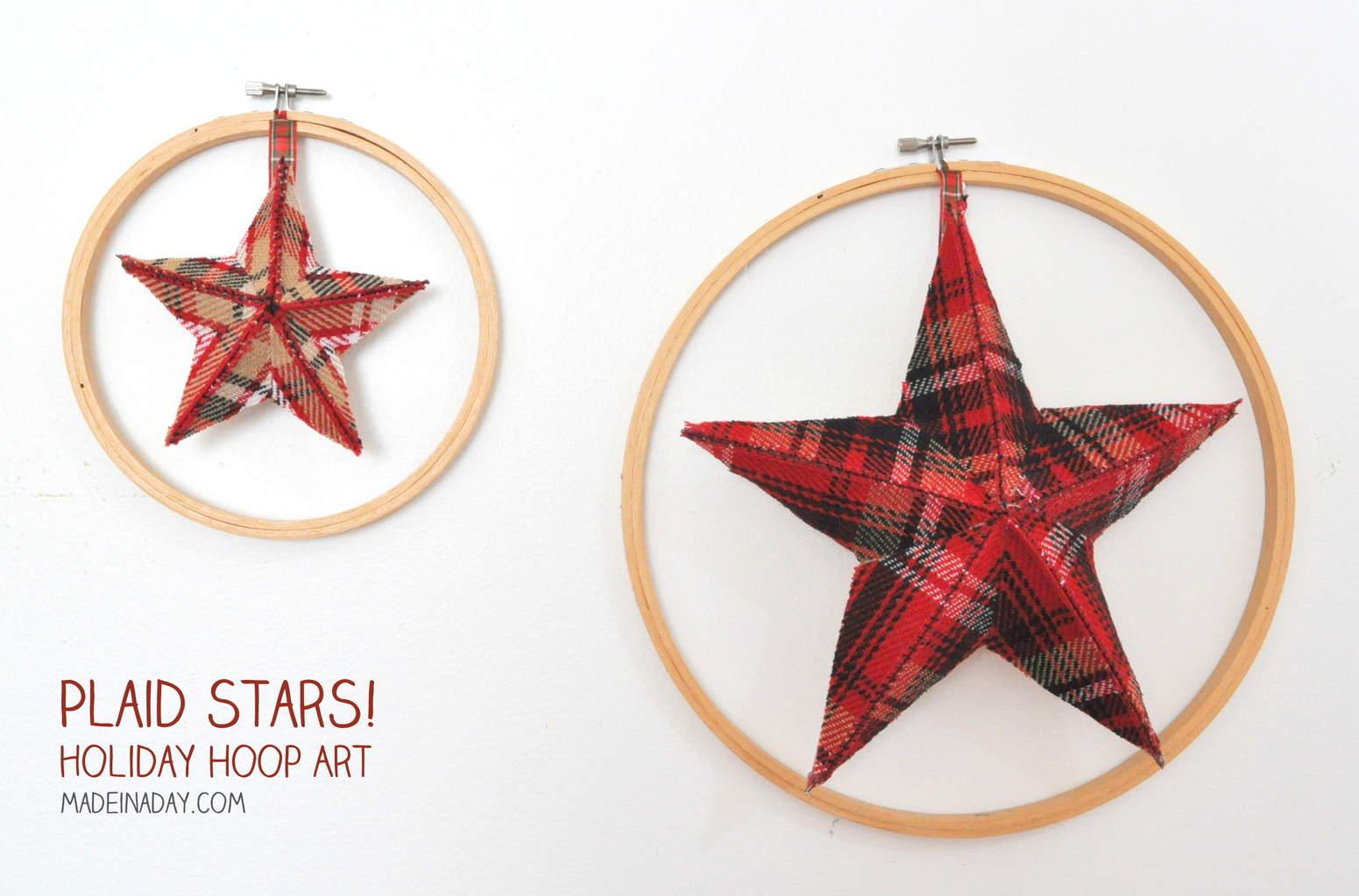 Plaid Fabric Stars Holiday Hoop Art