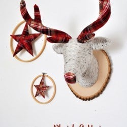 Plaid & Yarn Faux Deer Head Mount