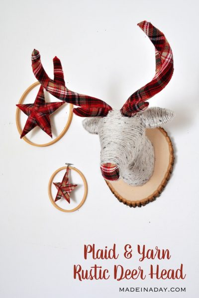 Plaid and Yarn Faux Deer Head