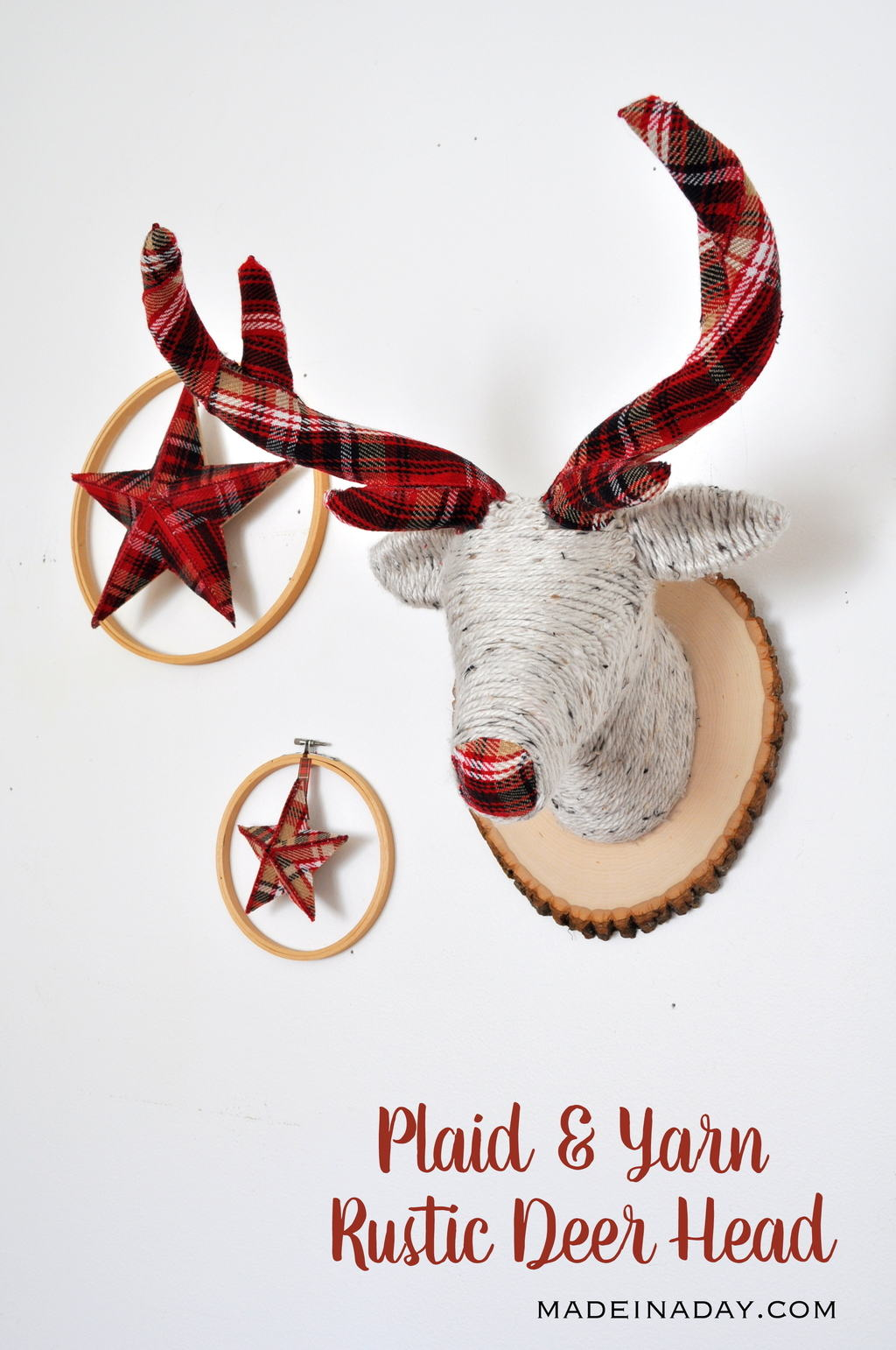 Festive Plaid and Yarn Faux Deer Head