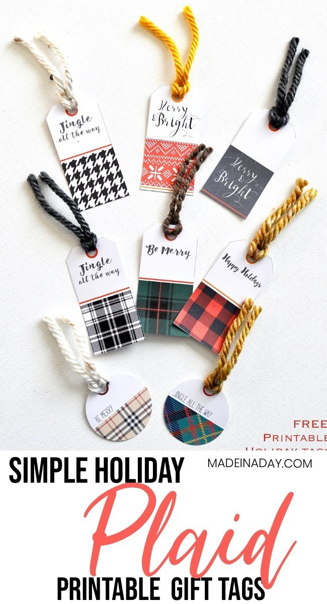 printable plaid gift tags