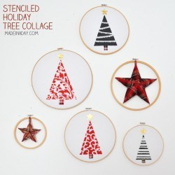 Stenciled Holiday Hoop Art