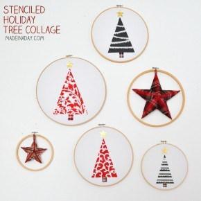 Stenciled Holiday Hoop Art
