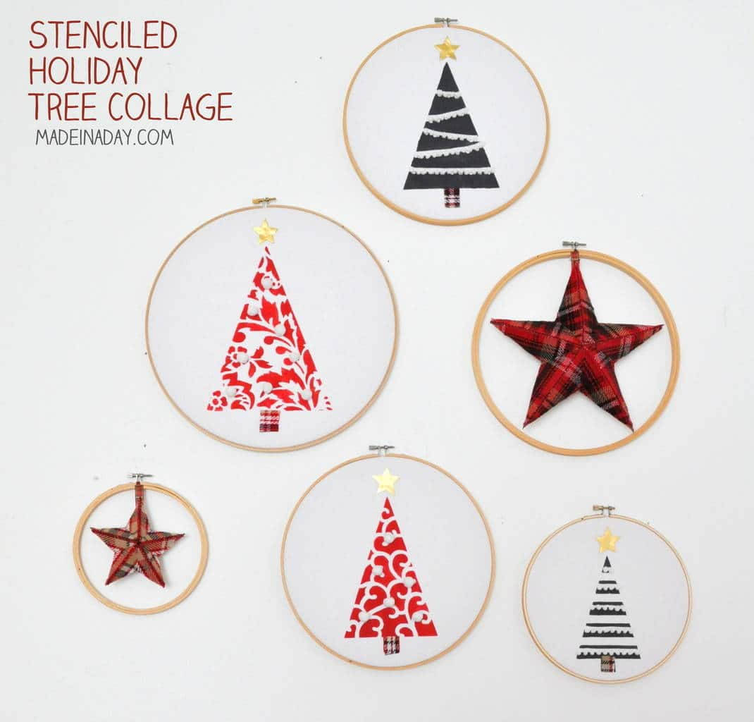 Festive Farmhouse Embroidery Hoop Holiday Tree Collage