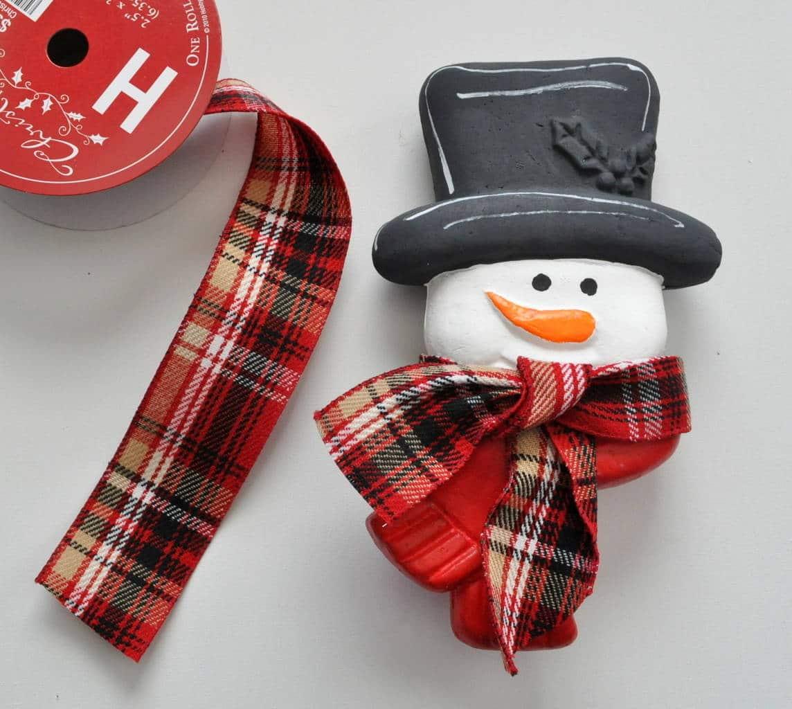 add a plaid scarf to snowman ornament