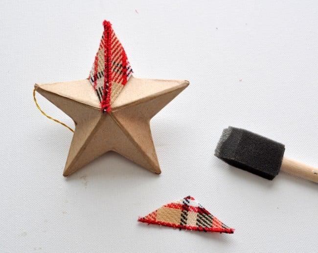 decoupage paper mache plaid star