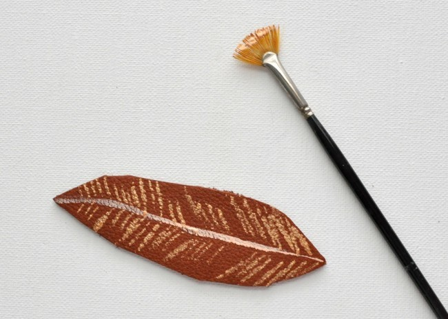 paint a leather feather with acrylic paint