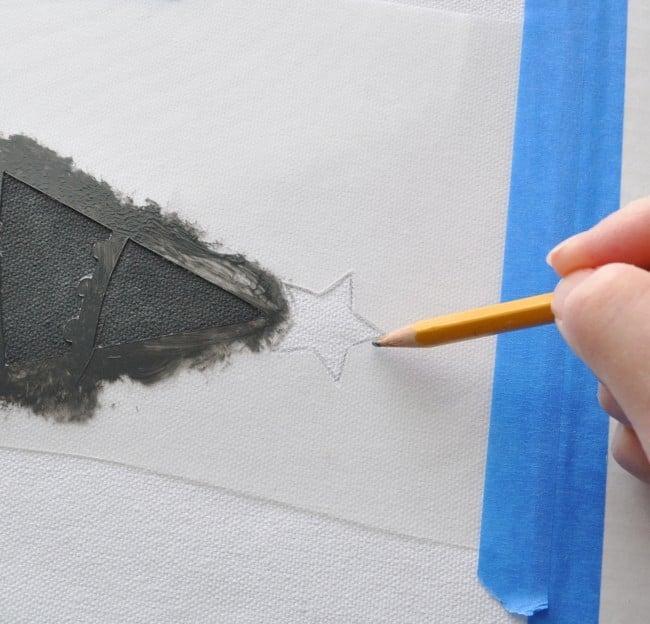 stencil with pencil