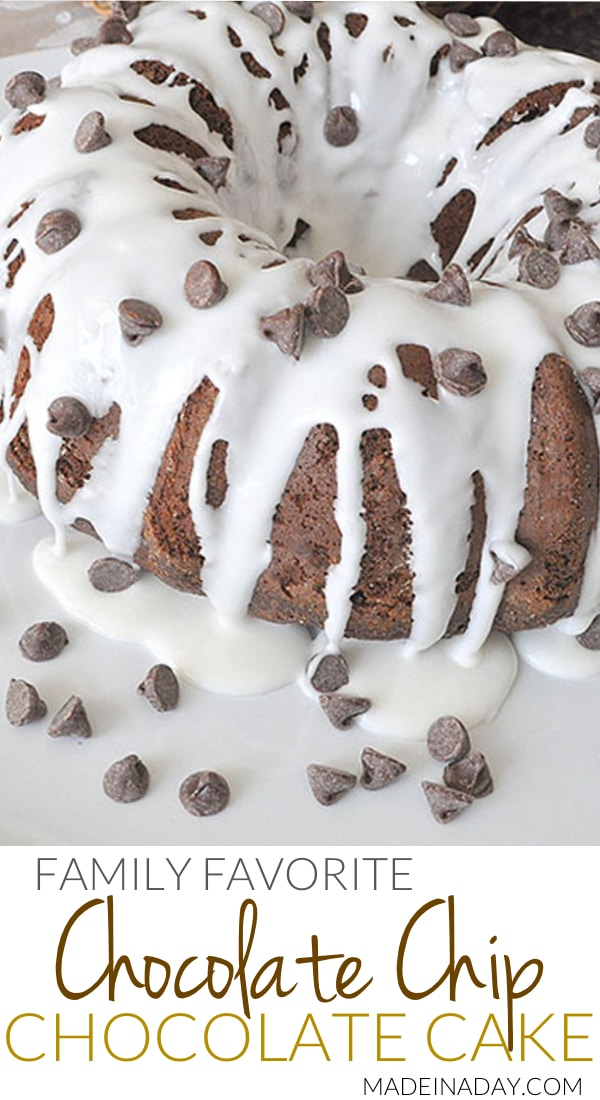 Chocolate Chip Chocolate Cake Recipe, Get the recipe for my husbands all time favorite cake! chocolate #bundt cake,#chocolate #cake