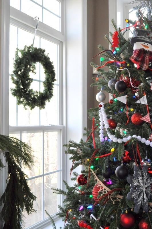 Christmas tree in back window