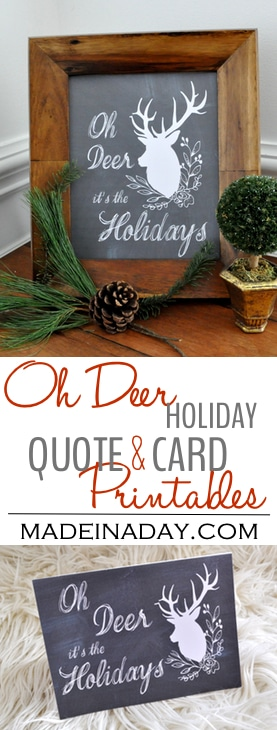 Oh Deer Holiday FREE Printables, Pretty Chalkboard Deer Framable Holiday Sign, Christmas cards, phone wallpaper and more when you join our email list.
