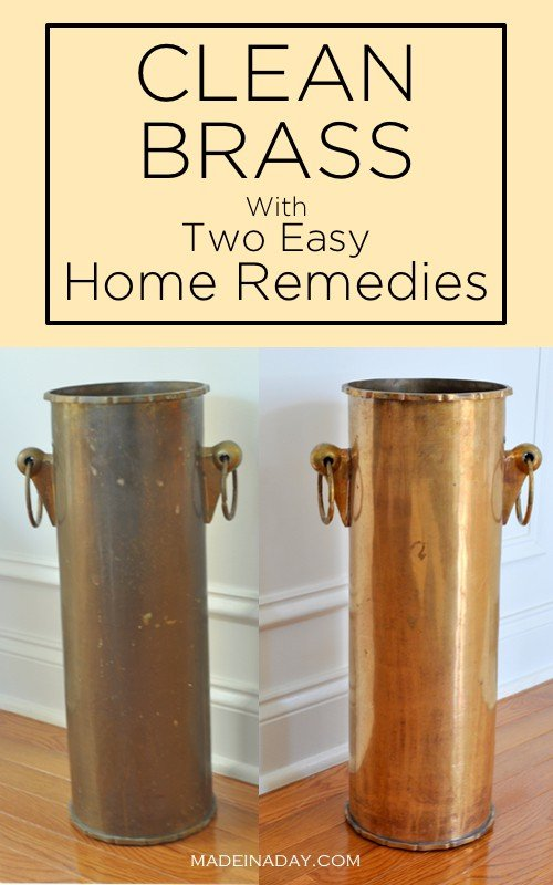 Super easy way to clean brass without going to the store! Salt, vinegar and ketchup to clean brass, home remedies to clean brass, #brass #homeremedies