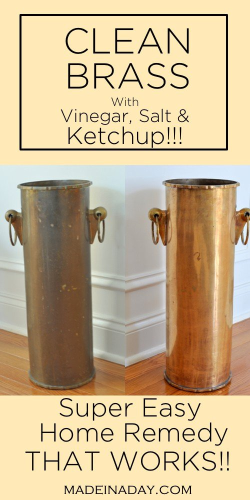 Super easy way to clean brass without going to the store! Salt, vinegar and ketchup to clean brass, home remedies to clean brass, #clean #brass #homeremedies