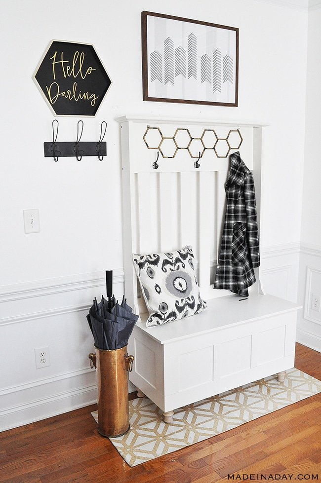 How to Update an Entryway with a hall tree to make a mudroom! ~Room Reveal, adding feet to a hall tree, #entryway styling, white entry, #mudroom