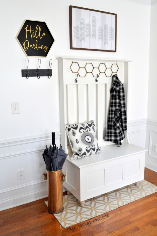 DIY Mudroom Entryway using Furniture madeinaday.com