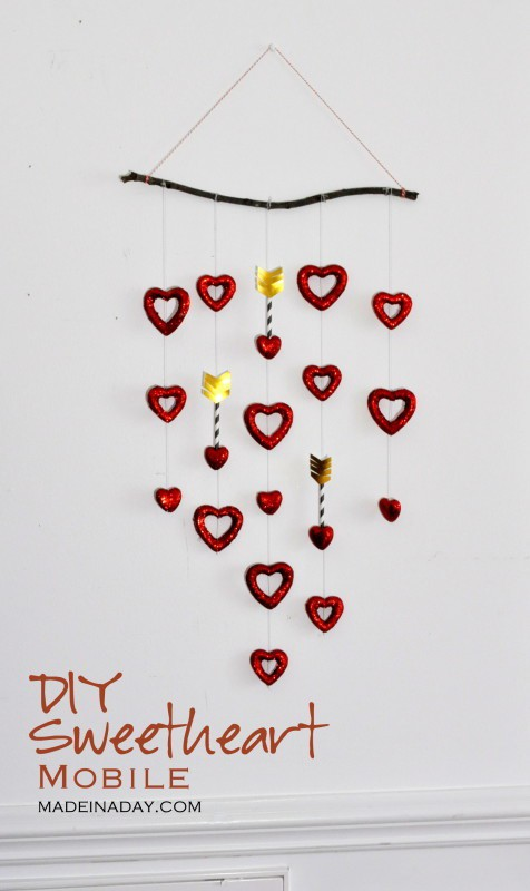DIY Valentine Craft Sweetheart Mobile using Dollar Store Items madeinaday.com