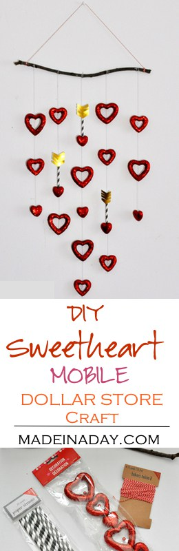 DIY Valentine Sweetheart Mobile from Dollar Store Hearts, an easy crafty DIY from a twig and dollar store items!