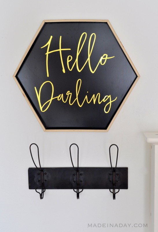 Easy Hello Darling DIY Sign made from a Geometric Tray madeinaday.com