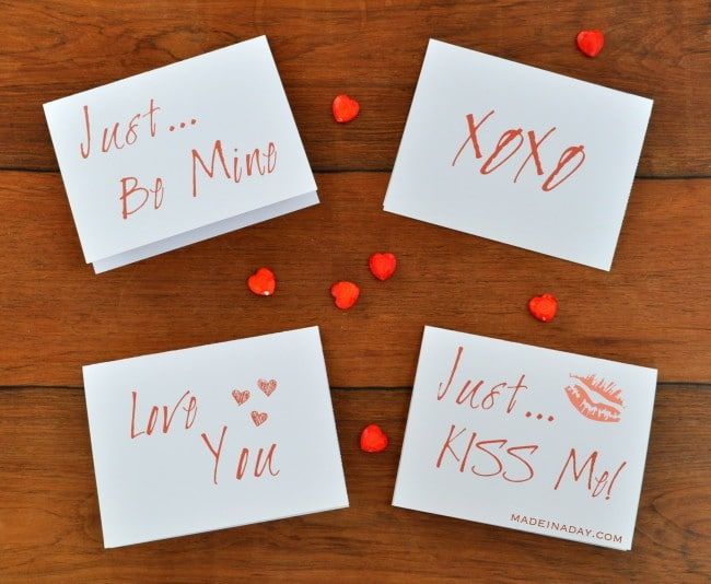 Free Valentines Day Printable cards madeinaday.com