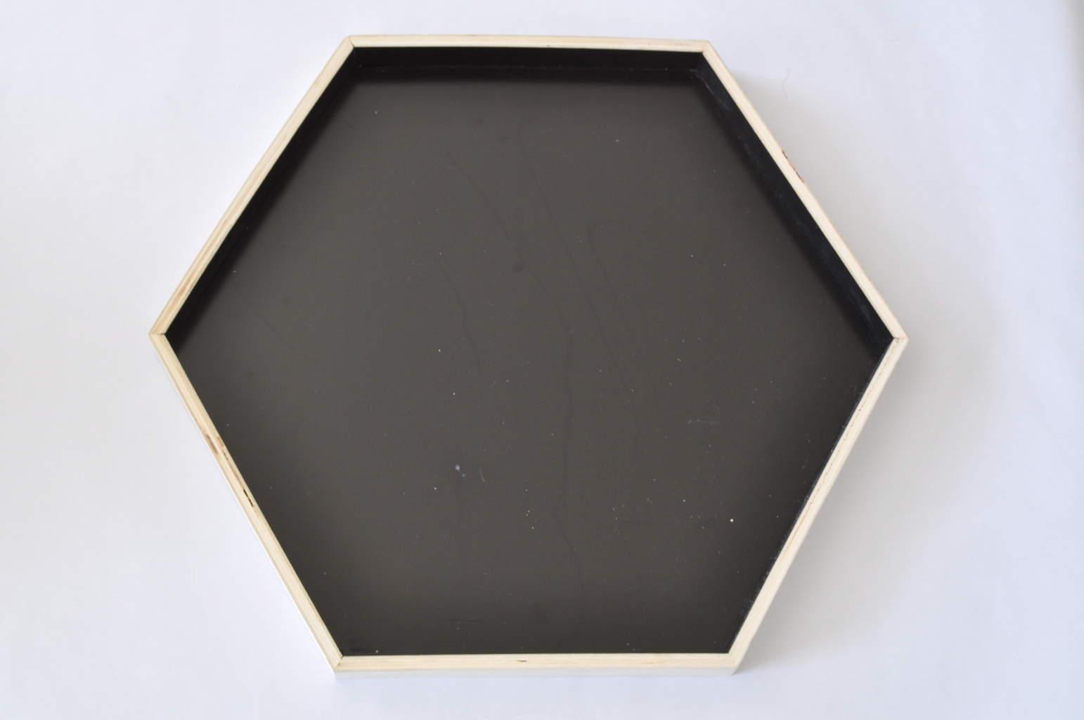 Geometric tray repurposed to cute sign
