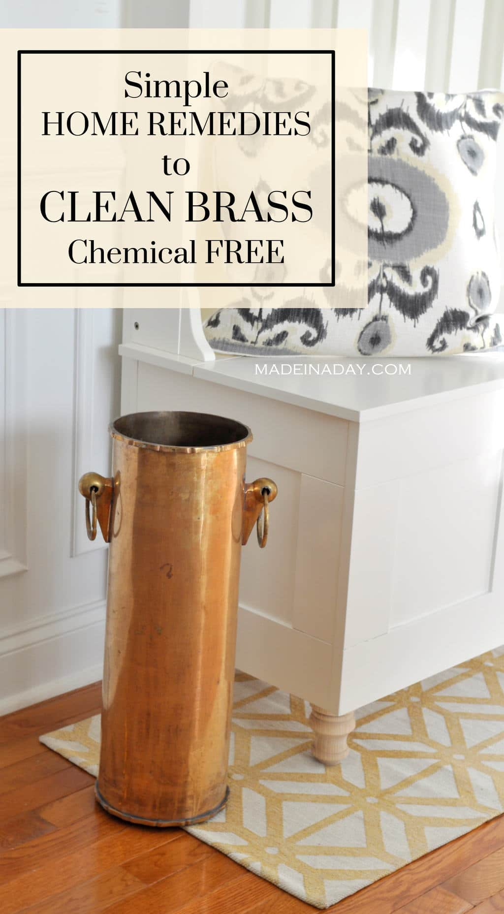 Super easy way to clean brass without going to the store! Salt, vinegar and ketchup to clean brass, home remedies to clean brass, #clean #homeremedies