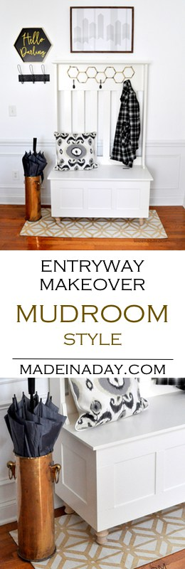 How to Update an Entryway with a hall tree to make a mudroom! Room Reveal, adding feet to a hall tree, #entryway styling, white entry, #mudroom alternative #ad #halltree