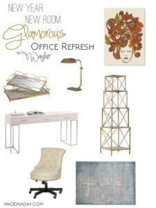 New Year New Room Glamorous Office Refresh mood board madeinaday.com
