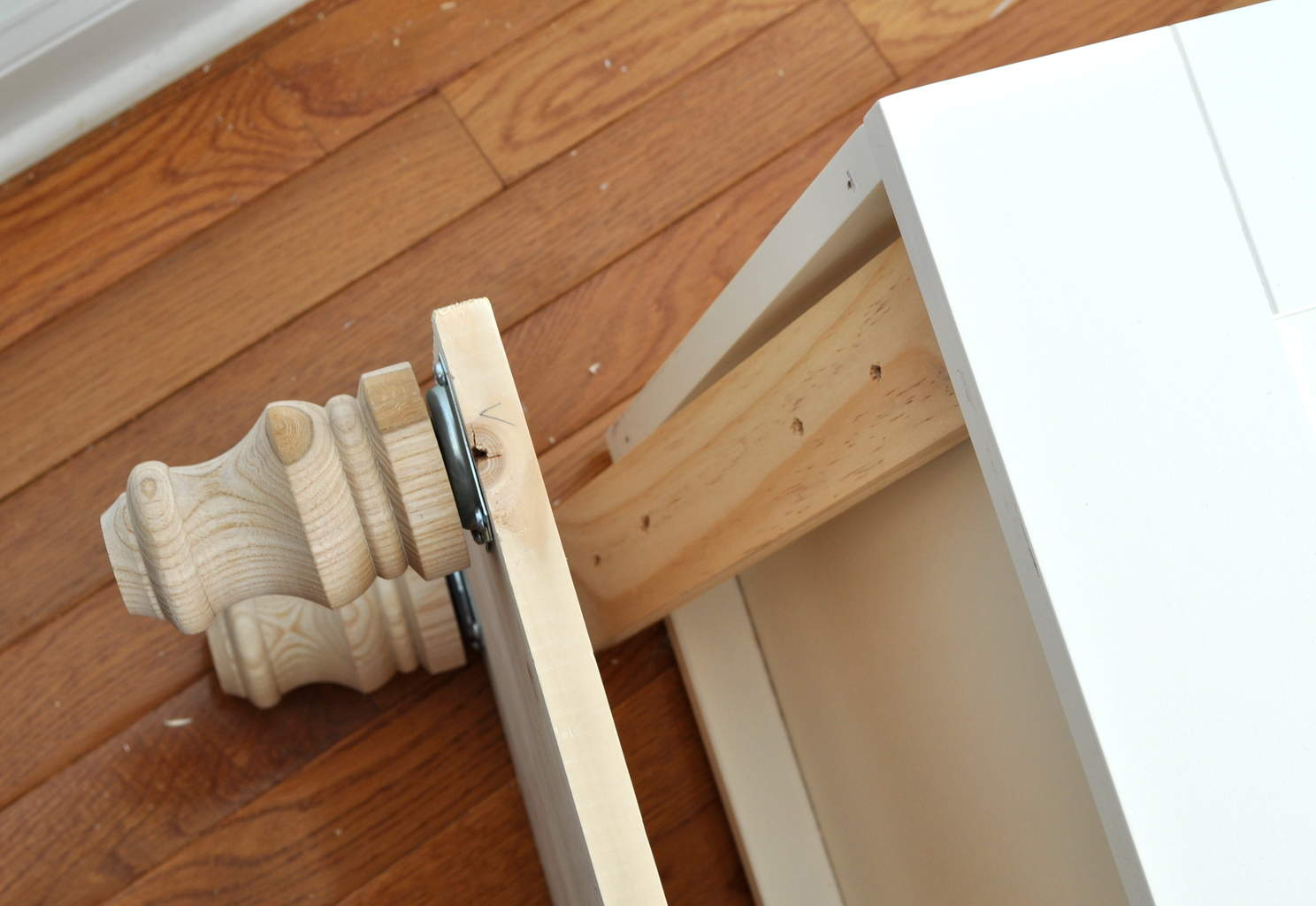 add foot base with bolts to bottom of furniture. How to Add Feet Legs to Furniture   Made in a Day