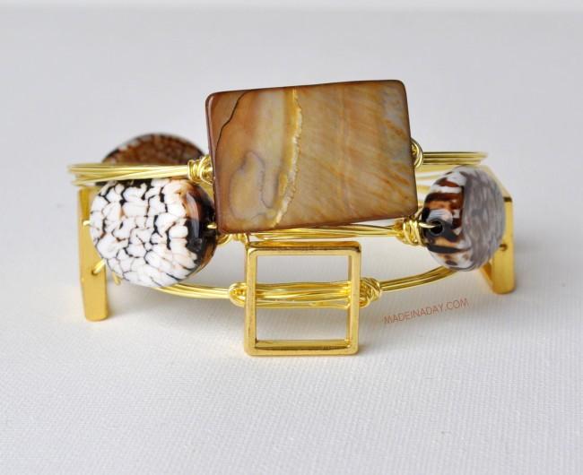 Brown Stone Wire Bracelet tutorial on madeinaday.com