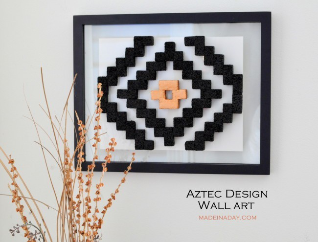 DIY Aztec Design Wall Art madeinaday.com