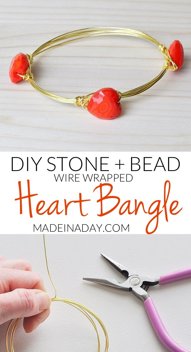 Heart Wire Bangle for Valentines Day, See my step by step tutorial for making wrapped wire #bracelets. How to make wire bracelets with stones, make a wire wrapped #bangles