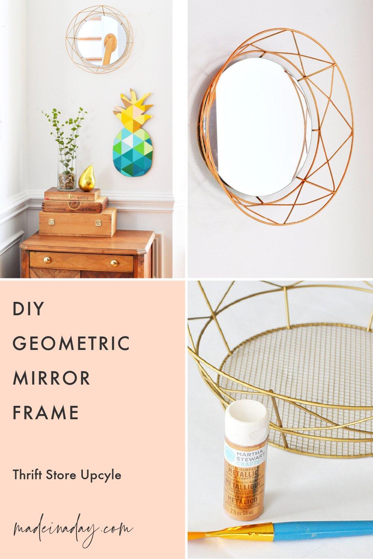 DIY Geometric Decorative Mirror Frame