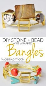Stone Wire Wrapped Bangle Bracelets 1