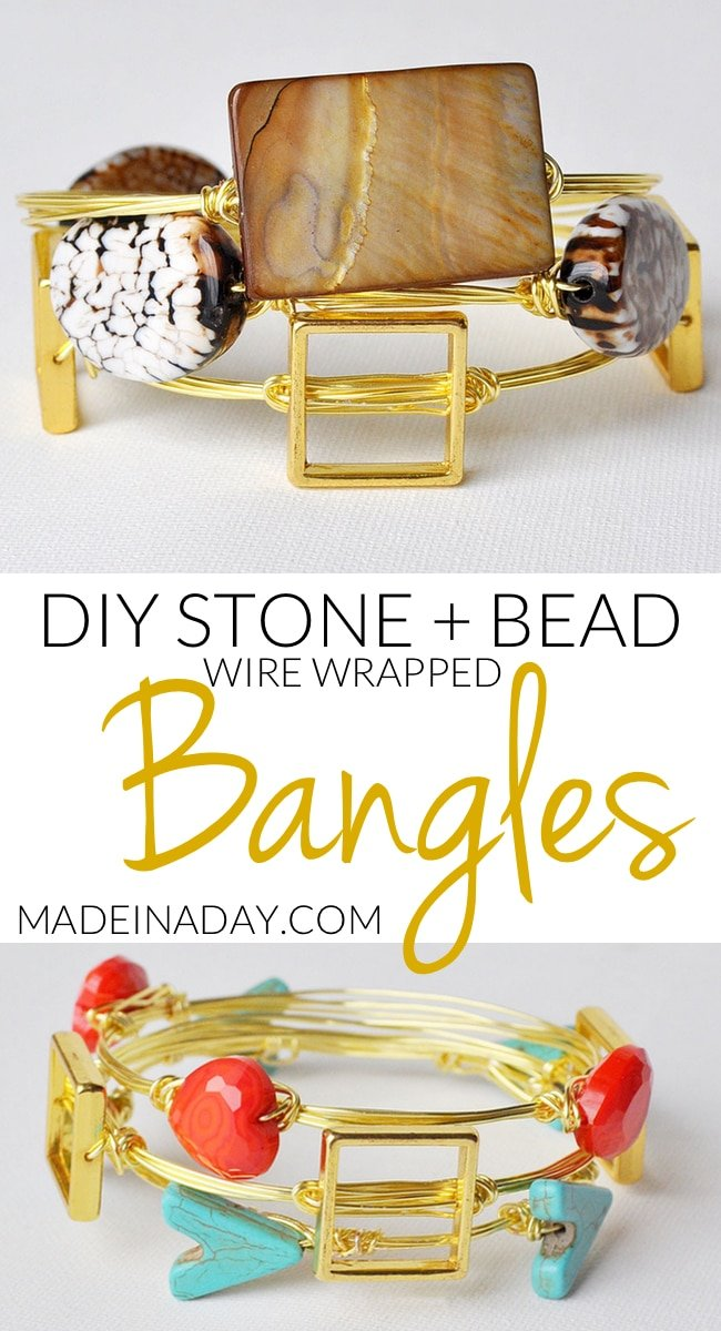 See my step by step tutorial for making wrapped wire #bracelets. How to make wire bracelets with stones, make a wire wrapped #bangles, brown, gold, and stone wire bracelets, arrow wire bracelets, heart wire bracelet for Valentines Day, wire wrapped bracelet #wirewrapped