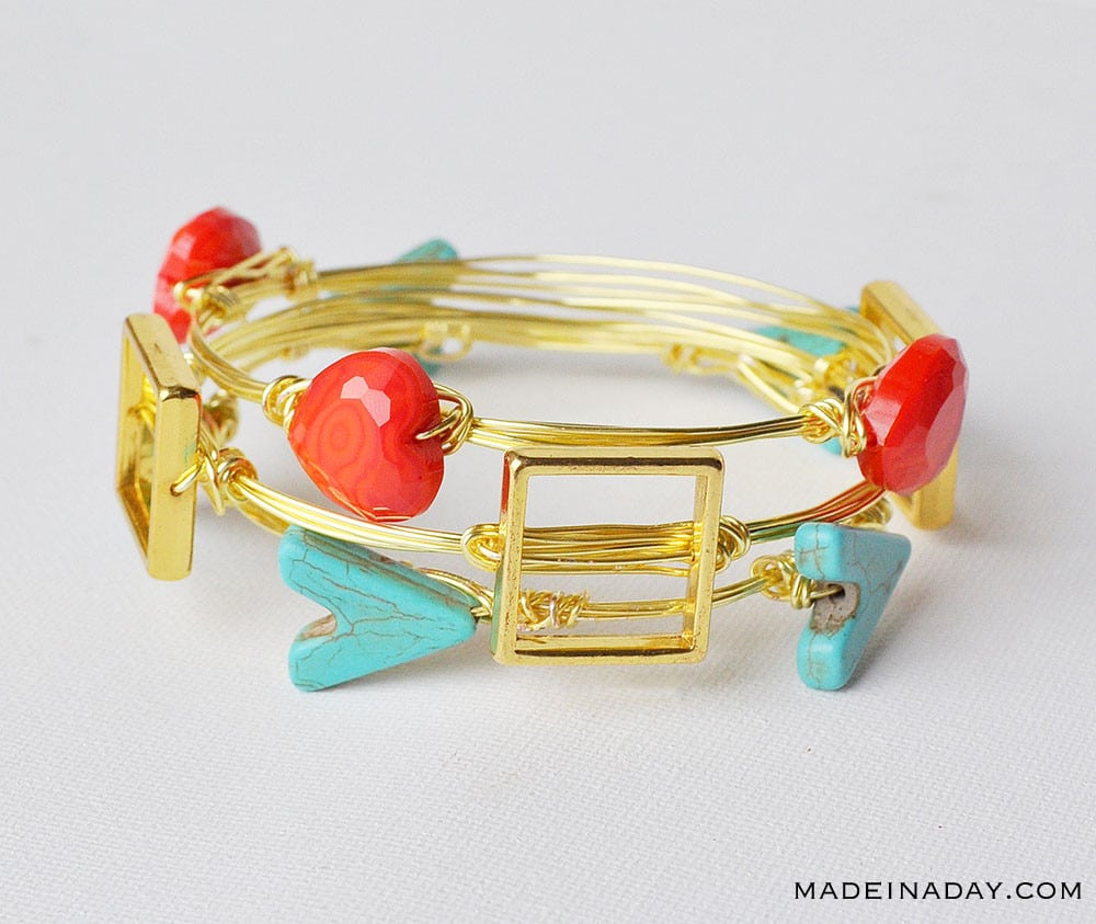 wire bracelets with stones