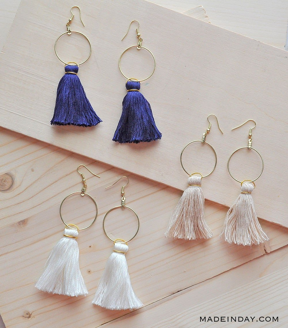 hoop tassel earrings, navy tassel earring,