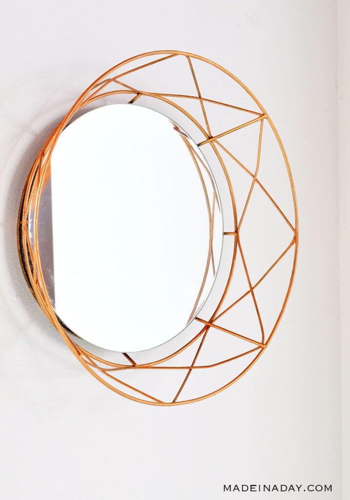 geometric mirror rose gold