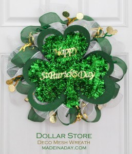 Dolar Store St Patricks Day Deco Mesh Green gold Wreath madeinaday.com