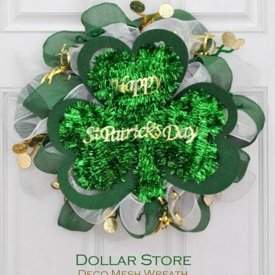St Patricks Day Dollar Store Mesh Wreath