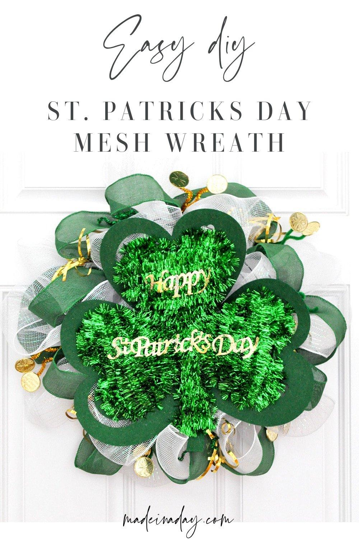 St Patricks Day Dollar Store Mesh Wreath