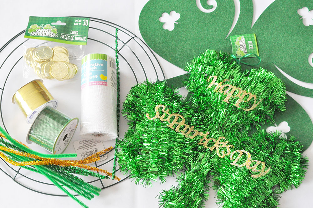 St Patricks Day Dollar Store Mesh Wreath 2