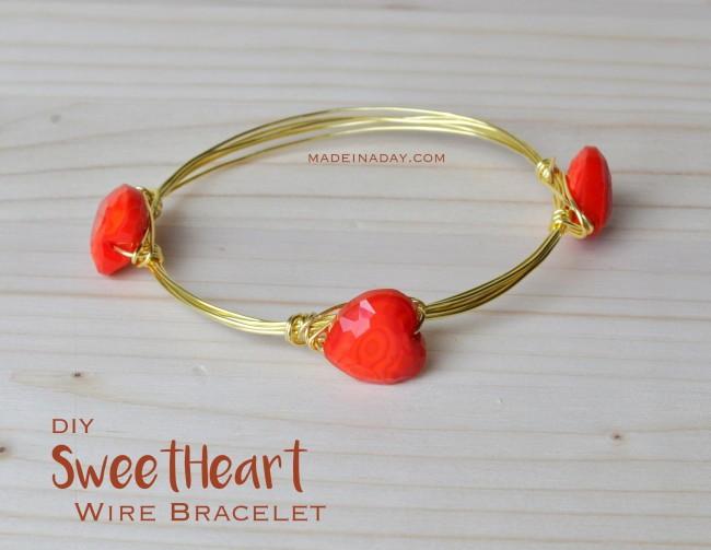 Easy Valentine Heart Wire Bracelet tutorial madeinaday.com