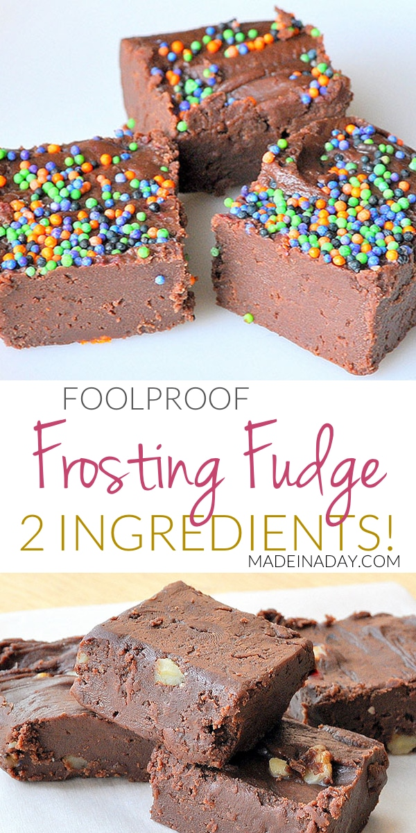 Simple 2 Ingredient #Fudge Recipe. The possibilities of fudge flavors are endless with this kid-friendly foolproof recipe! See my version on madeinaday.com