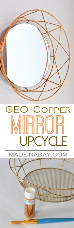 DIY Geometric Decorative Mirror, take a holiday geometric tray and upcycle it into a trendy Geometric Copper Mirror, copper home decor. Easy DIY.