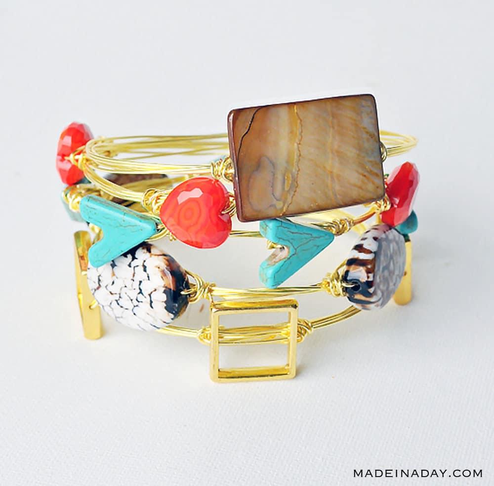 wire wrapped bracelet tutorial, how to make a wire bangle bracelet